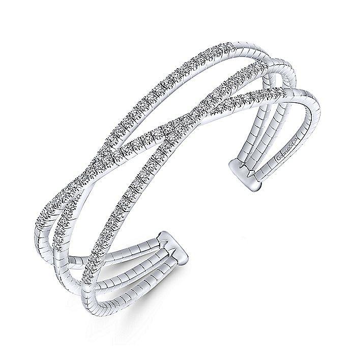 14K White Gold Criss Crossing Diamond Cuff