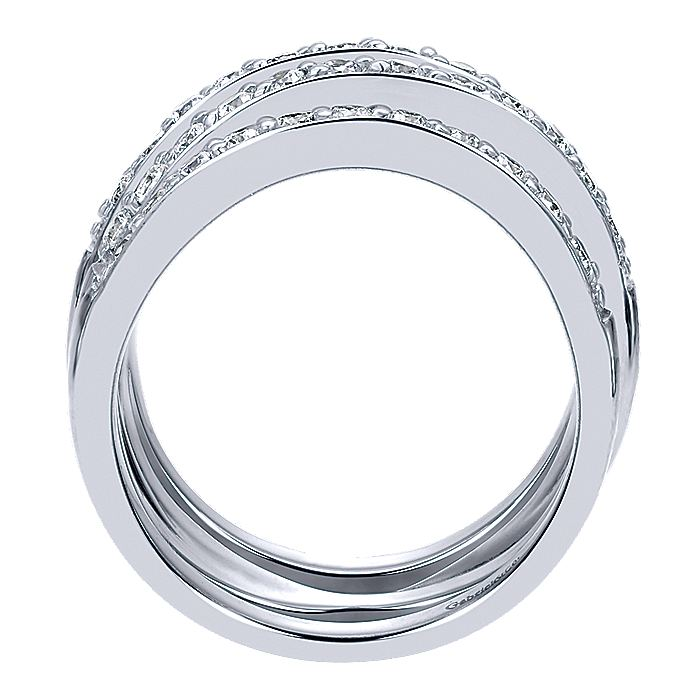 14K White Gold Criss Crossing Diamond Ring