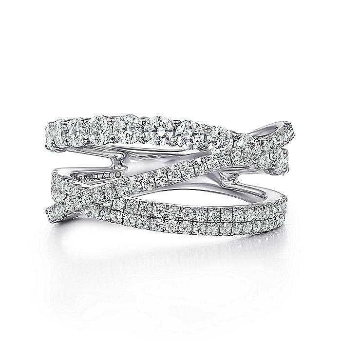 14K White Gold Criss Crossing Layered Diamond Ring