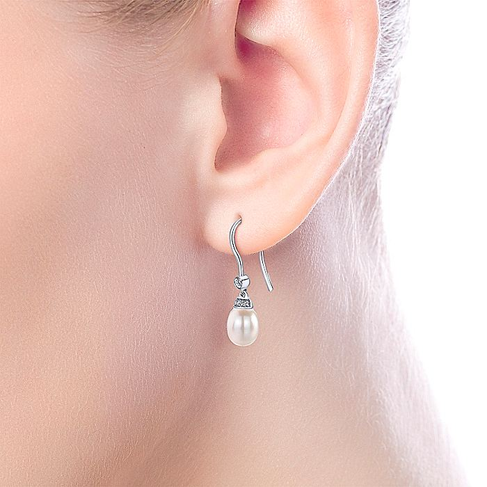 14K White Gold Cultured Pearl Diamond Fish Hook Drop Earrings