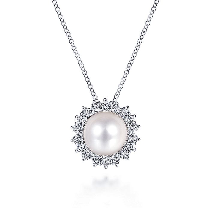 14K White Gold Cultured Pearl Diamond Halo Pendant Necklace