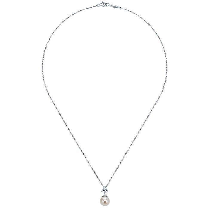 14K White Gold Cultured Pearl Drop Necklace with Diamond Accent
