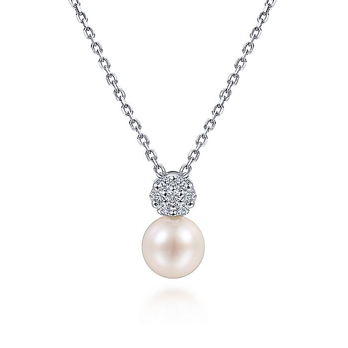 14K White Gold Cultured Pearl and Diamond Accent Necklace