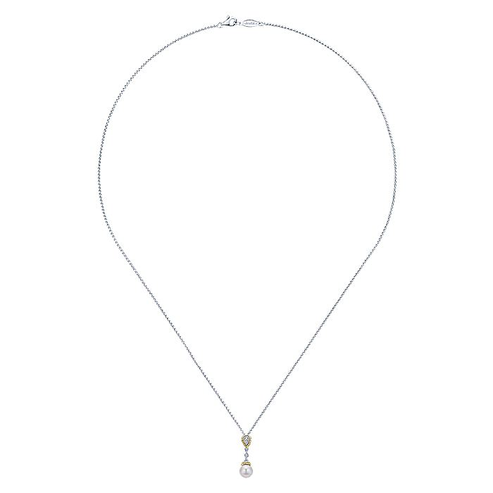 14K White Gold Cultured Pearl and Diamond Accent Pendant Necklace