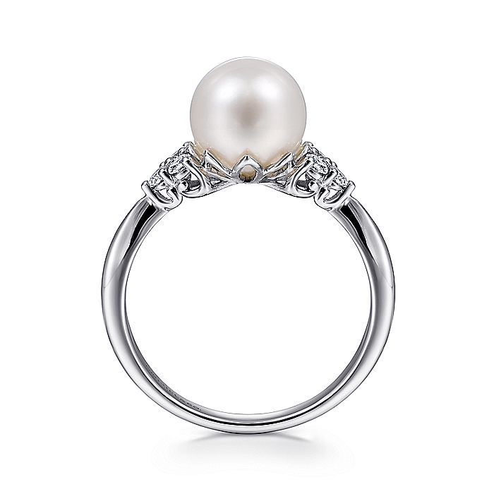 14K White Gold Cultured Pearl and Diamond Cluster Ring