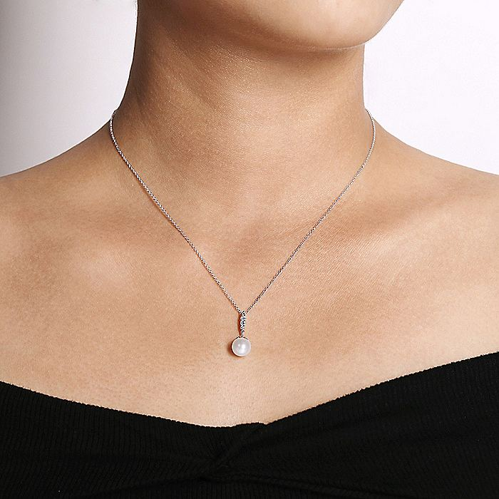 14K White Gold Cultured Pearl and Diamond Drop Pendant Necklace
