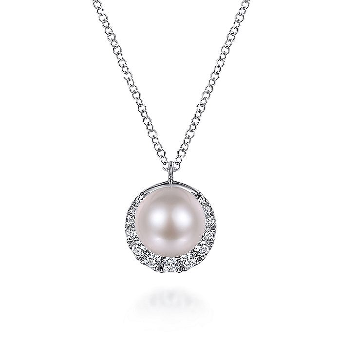 14K White Gold Cultured Pearl and Diamond Halo Pendant Necklace