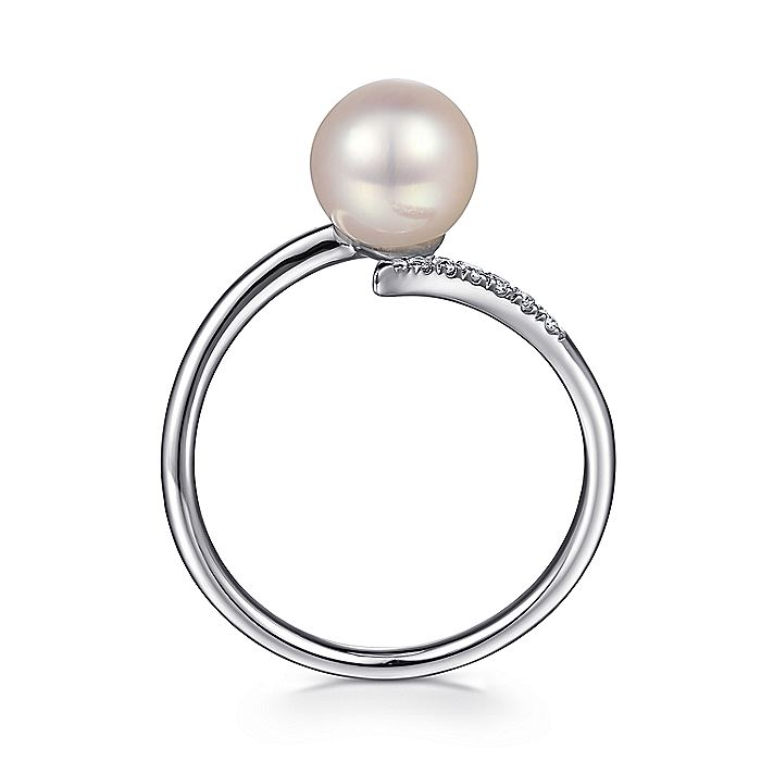 14K White Gold Cultured Pearl and Diamond Open Wrap Ring