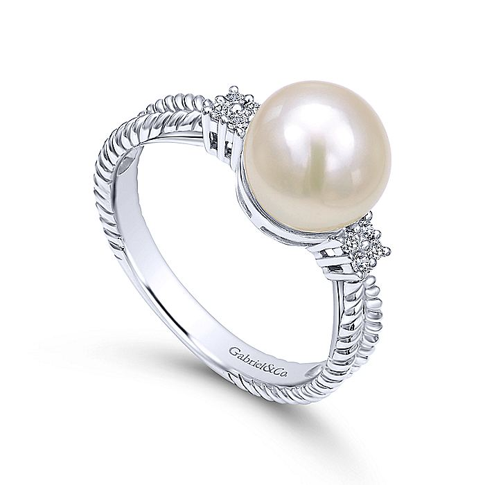 14K White Gold Cultured Pearl and Diamond Ring with Twisted Rope Shank