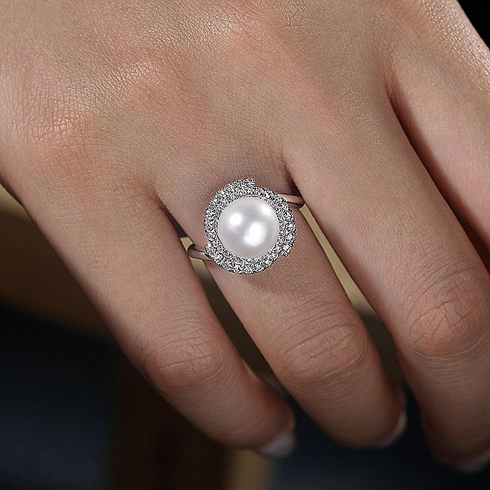 14K White Gold Cultured Pearl and Swirling Diamond Halo Ring