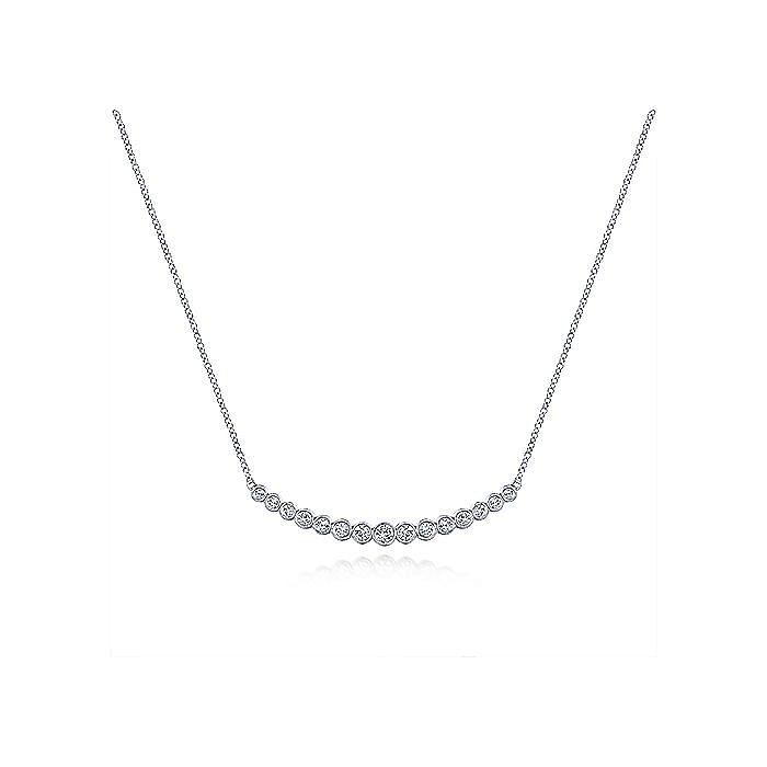 14K White Gold Curved Bar Necklace with Bezel Set Round Diamonds