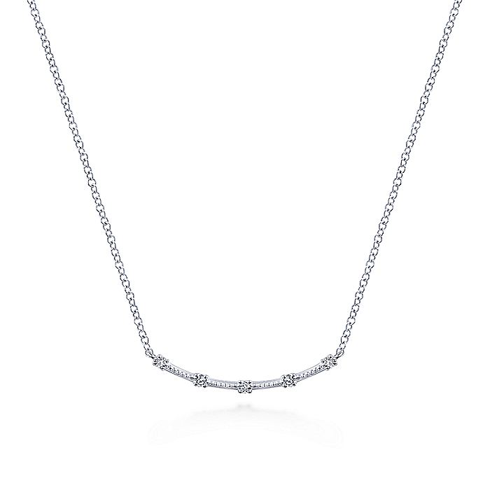 14K White Gold Curved Bar Necklace with Diamond Stations