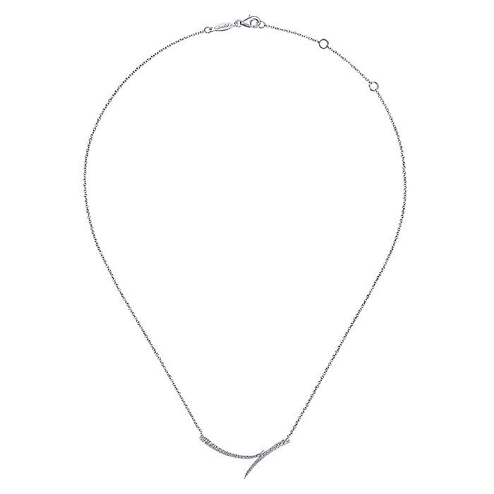 14K White Gold Curved Bypass Bar Necklace with Diamonds