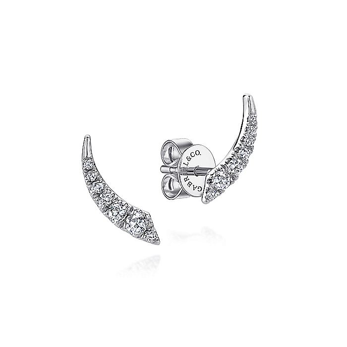 14K White Gold Curved Diamond Bar Stud Earrings