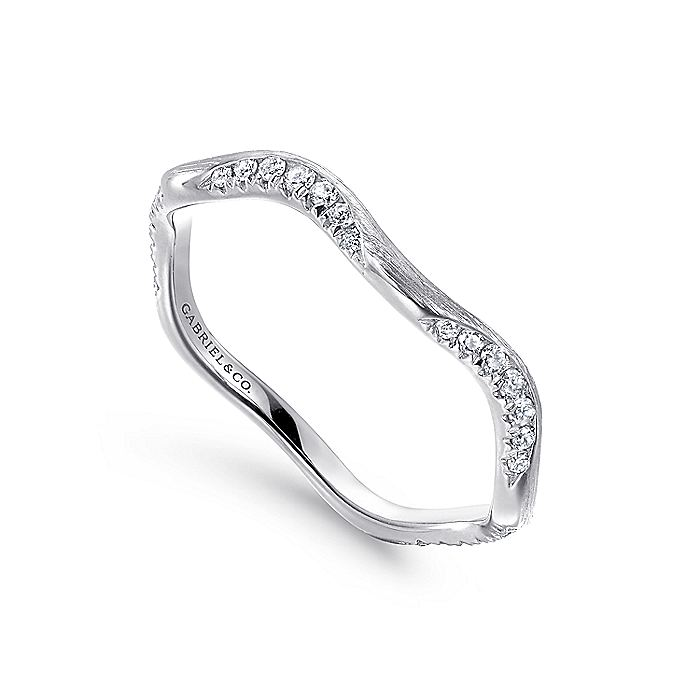 14K White Gold Curved Diamond Stackable Ring