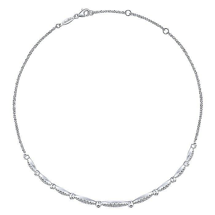 14K White Gold Curved Diamond Station Necklace