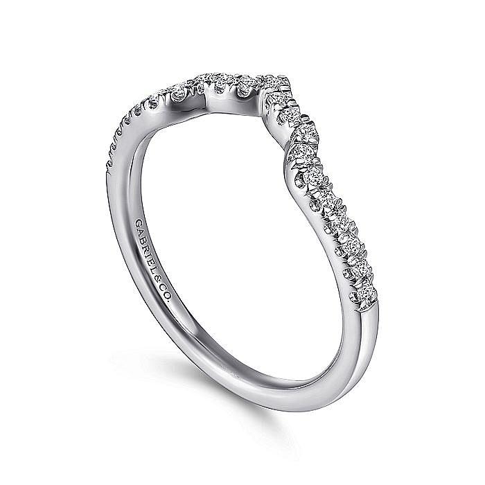 14K White Gold Curved Diamond Wedding Band