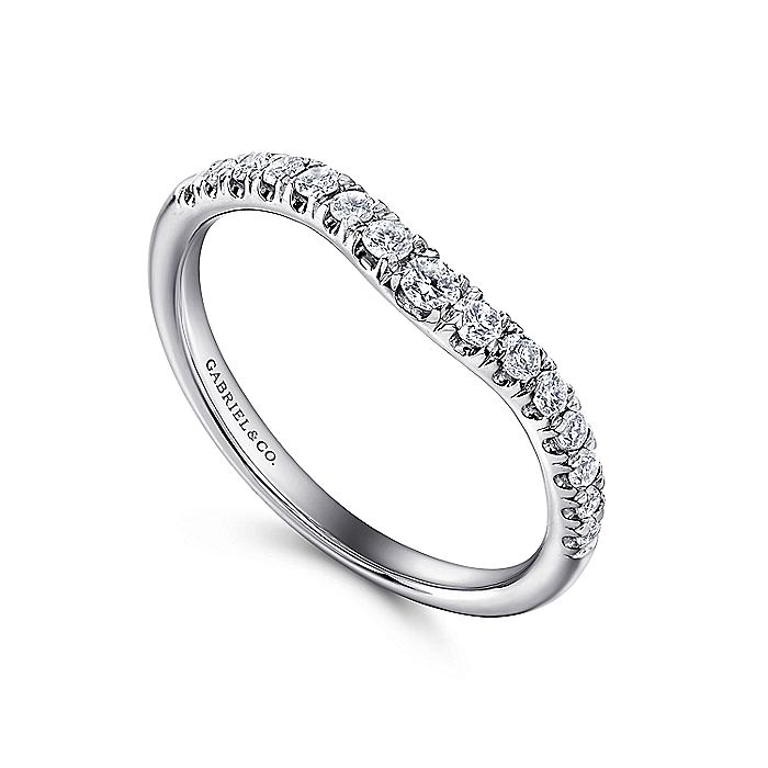 14K White Gold Curved French Pavé Diamond Wedding Band