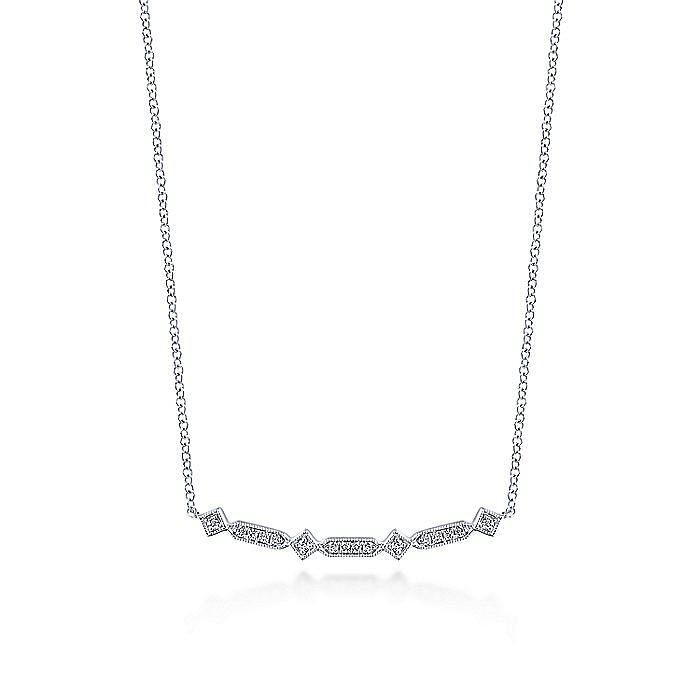 14K White Gold Curved Geometric Diamond Bar Necklace