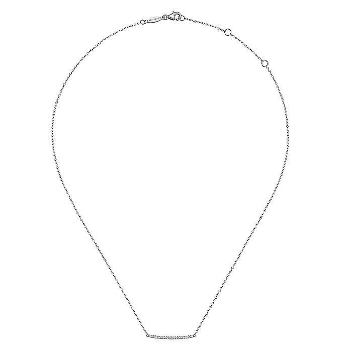 14K White Gold Curved Pave Diamond Bar Necklace