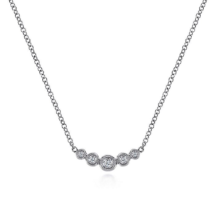 14K White Gold Curved Round Diamond Bar Necklace