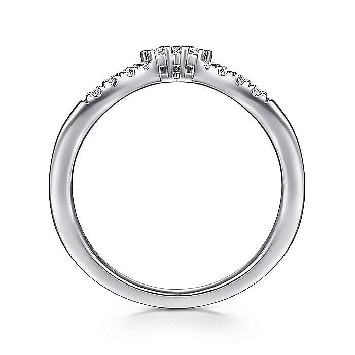 14K White Gold Curved V Diamond Wedding Band