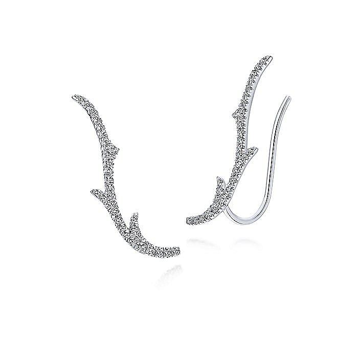 14K White Gold Curving Diamond Branch Ear Climber Earrings