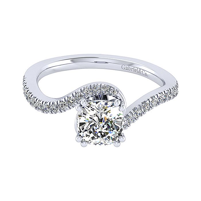 14K White Gold Cushion Cut Bypass Diamond Engagement Ring