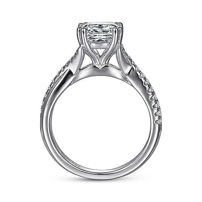 14K White Gold Cushion Cut Diamond Engagement Ring