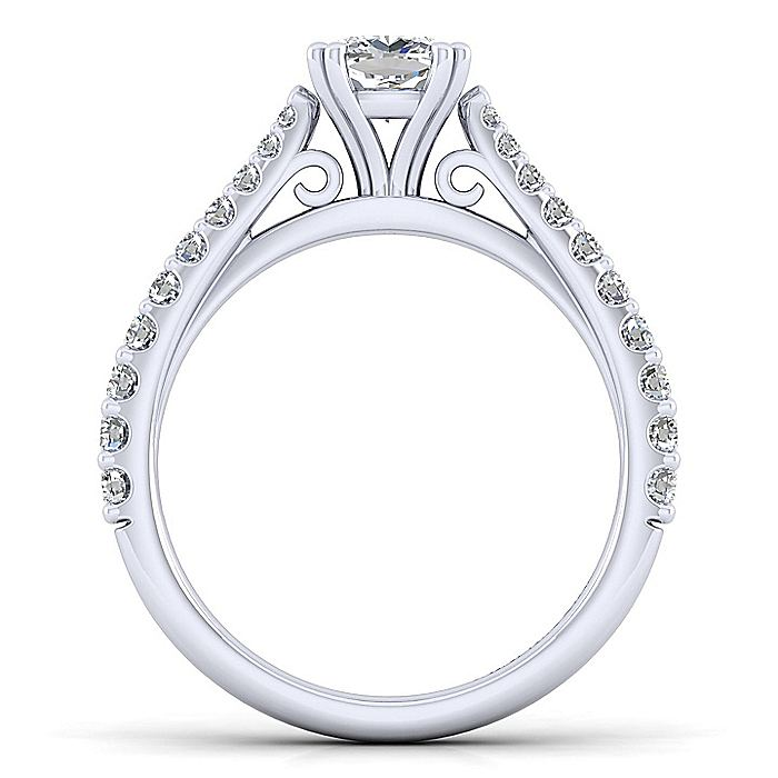 14K White Gold Cushion Cut Diamond Engagement Ring