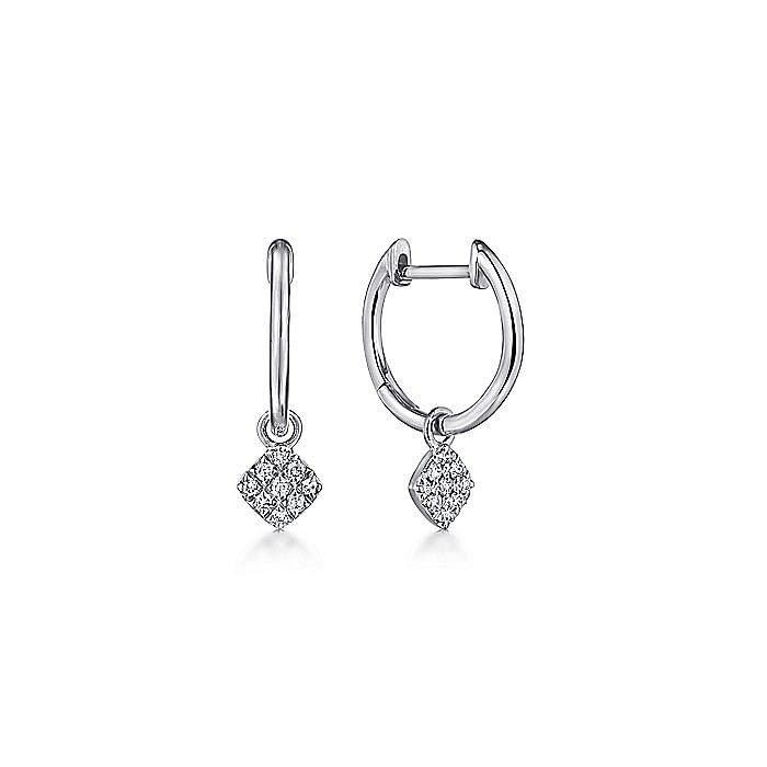 14K White Gold Cushion Cut Pavé 10mm Diamond Drop Earrings