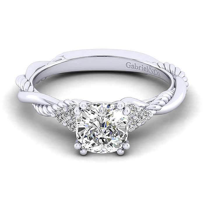 14K White Gold Cushion Cut Twisted Diamond Engagement Ring