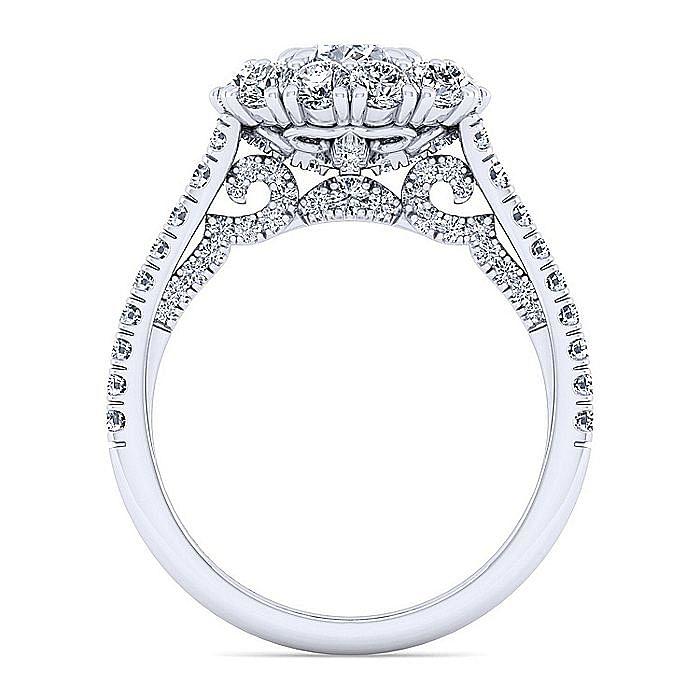 14K White Gold Cushion Double Halo Diamond Engagement Ring