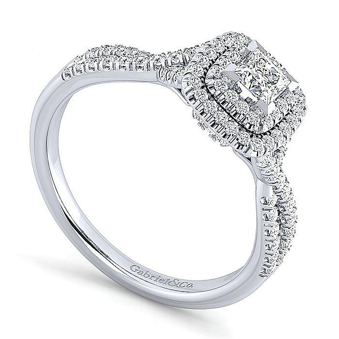 14K White Gold Cushion Double Halo Princess Cut Diamond Engagement Ring