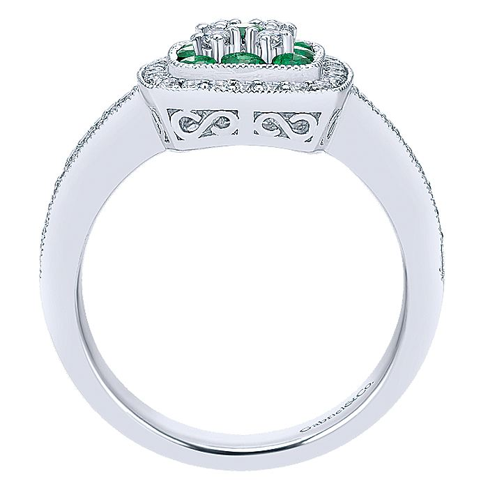 14K White Gold Cushion Emerald and Diamond Cluster Halo Ring