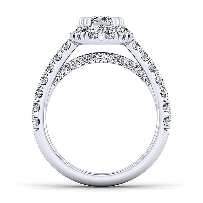 14K White Gold Cushion Halo Diamond Engagement Ring