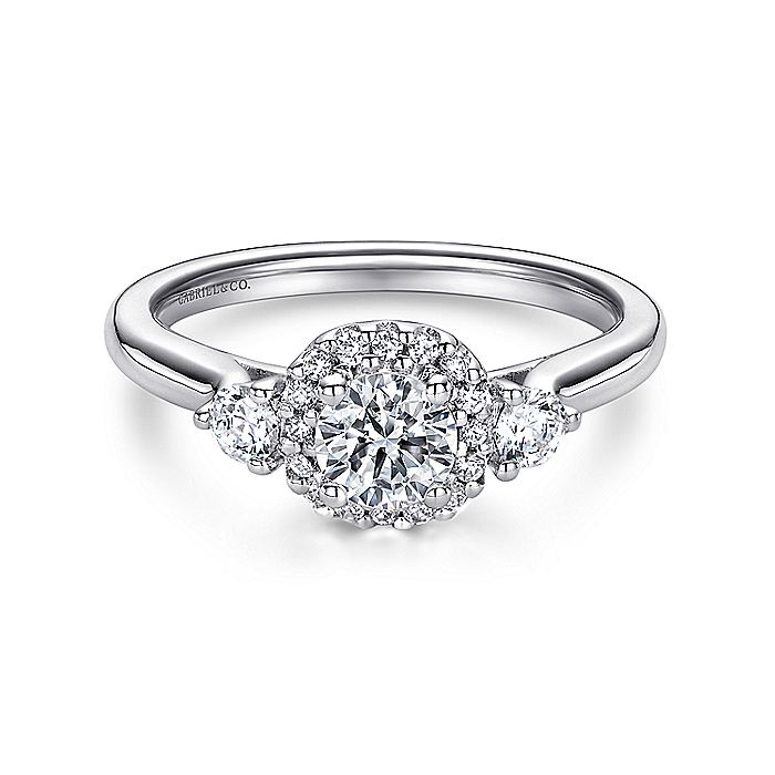14K White Gold Cushion Halo Round Diamond Engagement Ring