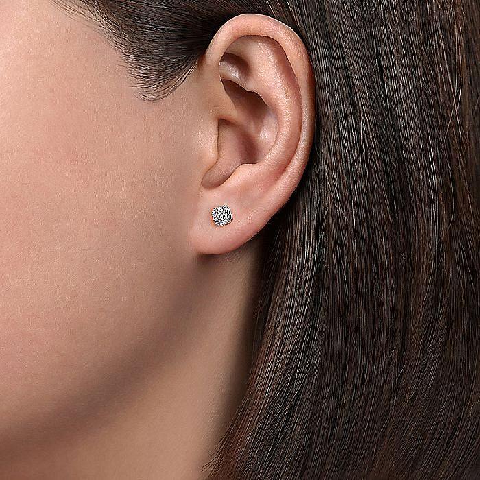 14K White Gold Cushion Halo Round Diamond Stud Earrings