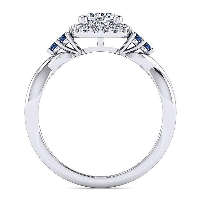 14K White Gold Cushion Halo Round Sapphire and Diamond Engagement Ring