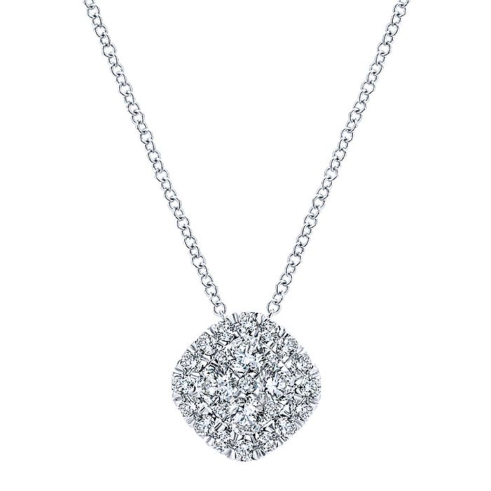 14K White Gold Cushion Shape Diamond Pavé Pendant Necklace