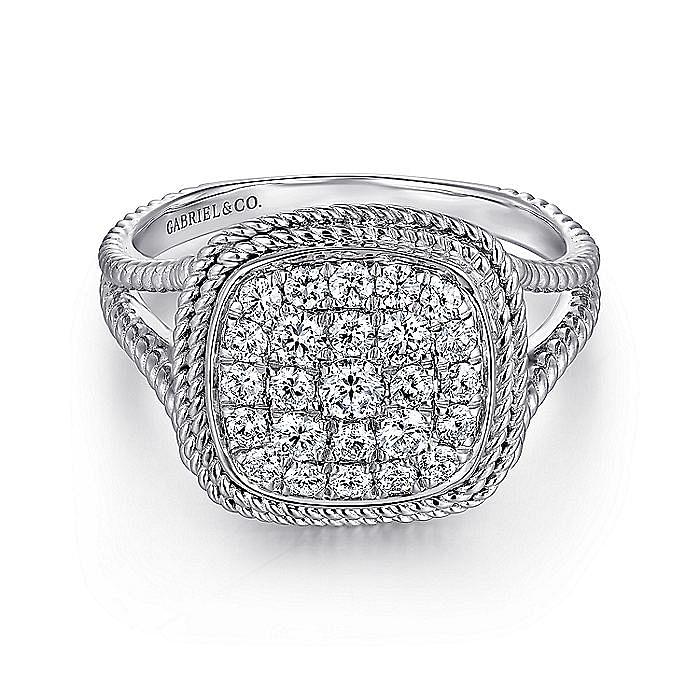 14K White Gold Cushion Shape Diamond Pav Split Shank Ring