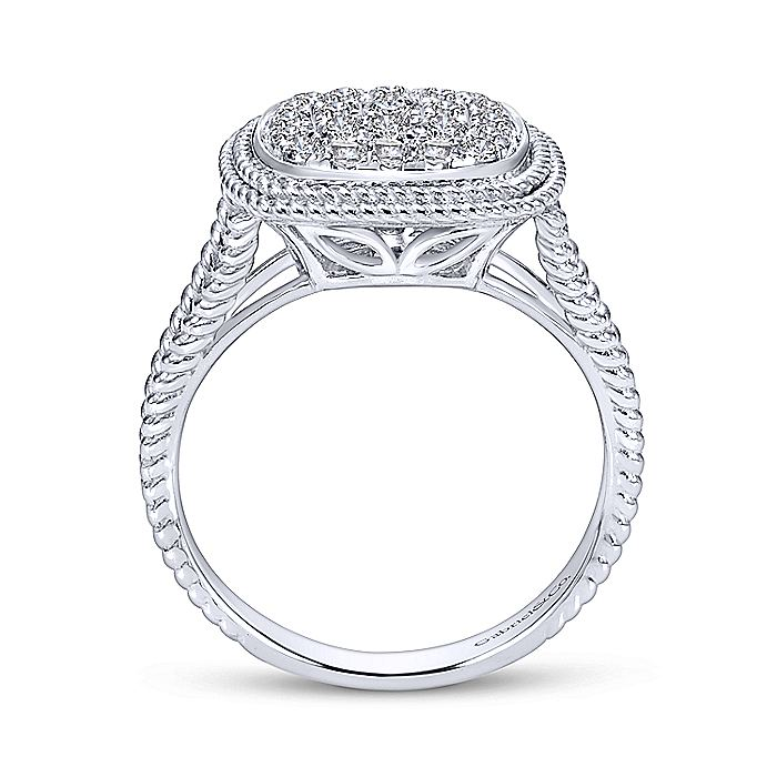14K White Gold Cushion Shape Diamond Pavé Split Shank Ring