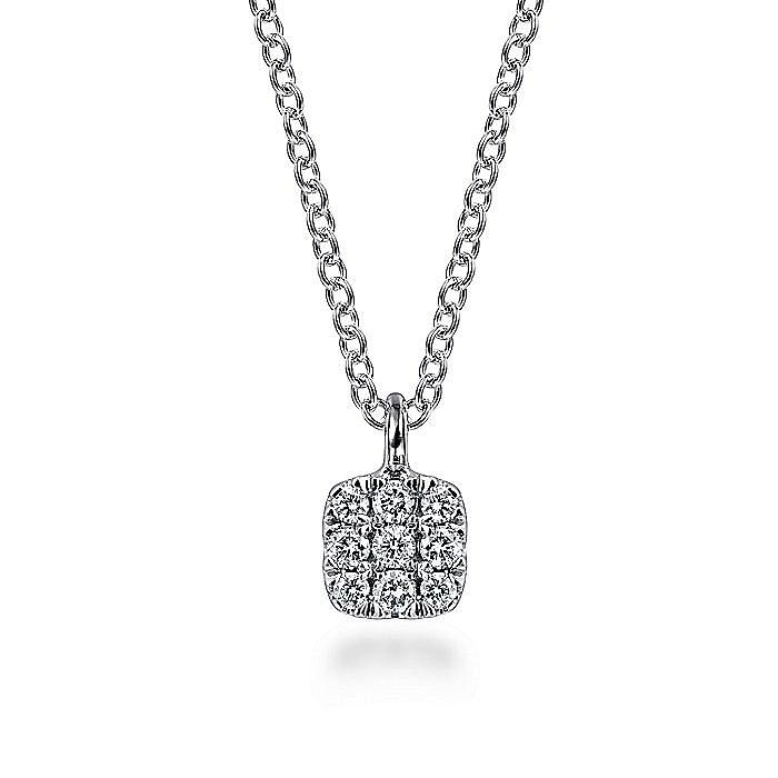 14K White Gold Cushion Shaped Diamond Cluster Pendant Necklace