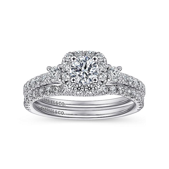 14K White Gold Cushion Three Stone Halo Round Diamond Engagement Ring