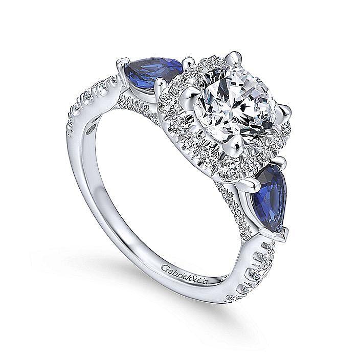 14K White Gold Cushion Three Stone Halo Round Sapphire and Diamond Engagement Ring