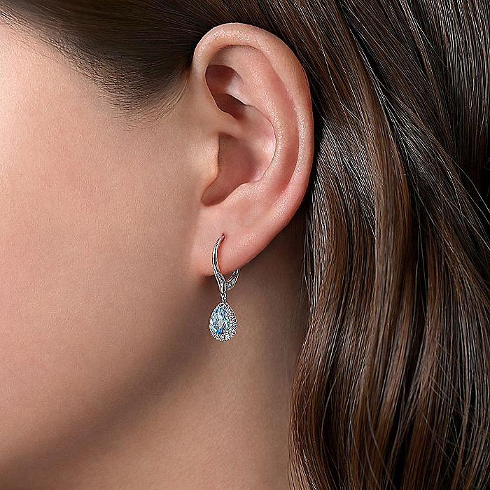14K White Gold Diamond & Blue Topaz Earrings