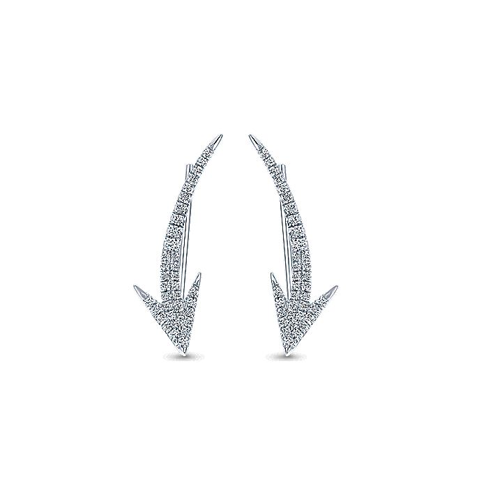 14K White Gold Diamond Arrow Ear Climber Earrings
