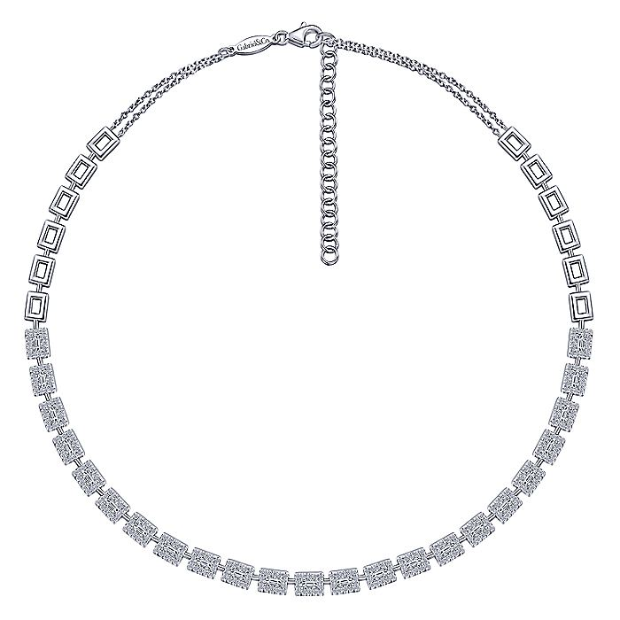 14K White Gold Diamond Baguette Halo Station Necklace