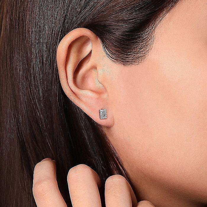 14K White Gold Diamond Baguette and Round Rectangular Stud Earrings