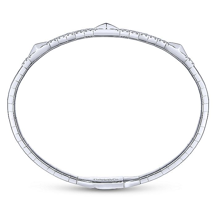 14K White Gold Diamond Bangle with Pyramid Rhombus Stations